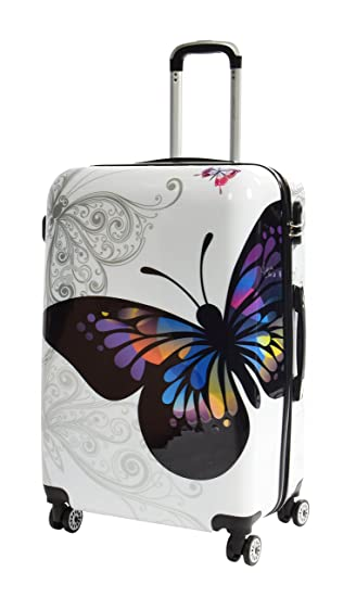 Four Wheel Travel Suitcase White Butterfly Lightweight Hard Shell ...