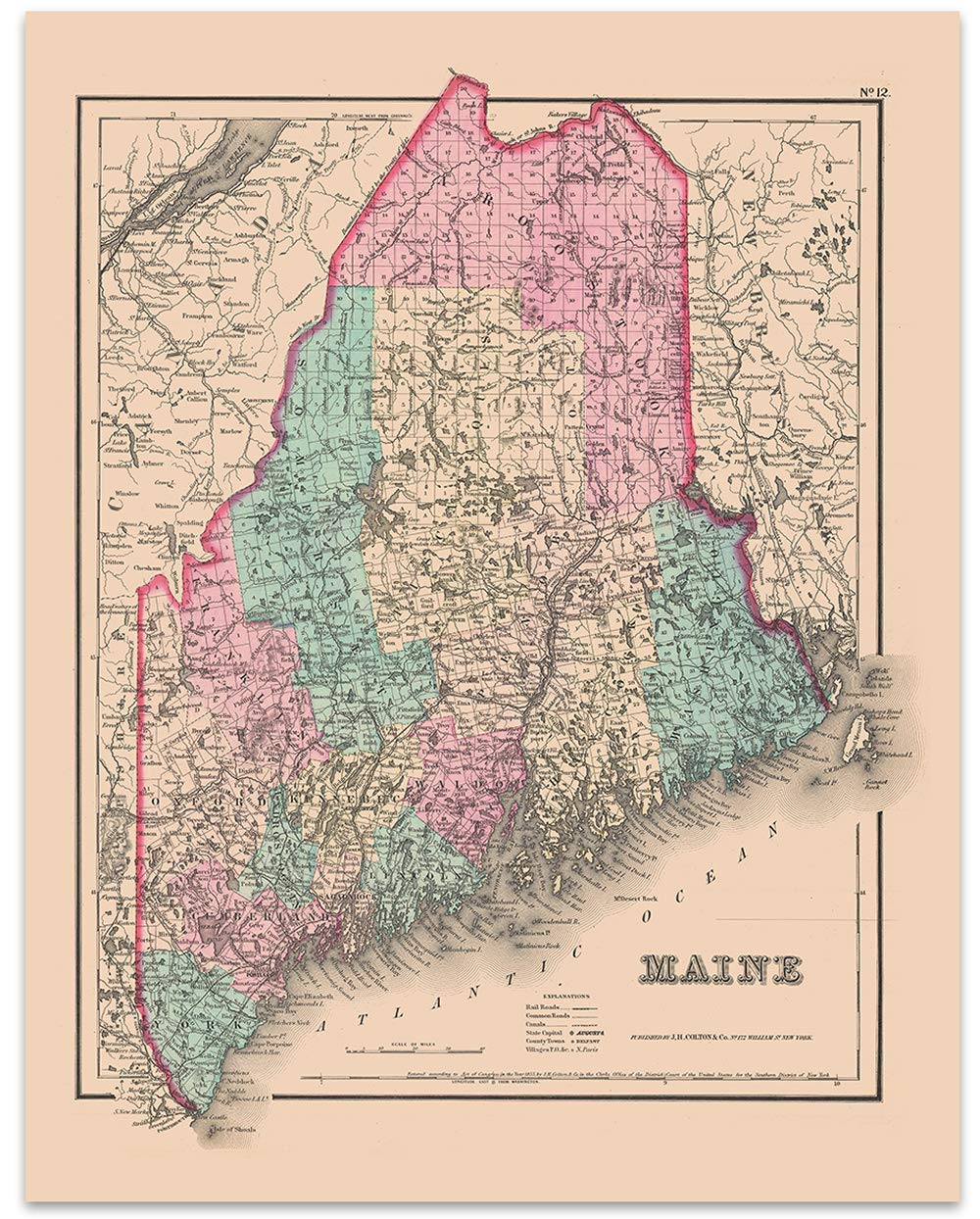image relating to Printable Map of Maine called : Maine Basic Map Circa 1855-11 x 14 Unframed