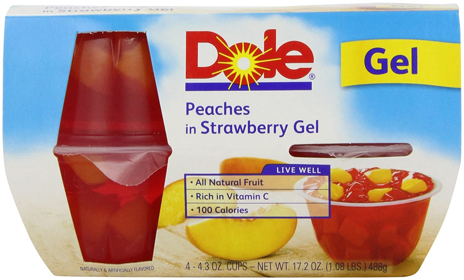 Dole, Peaches in Strawberry Gel, 16 Oz, Pack of 4