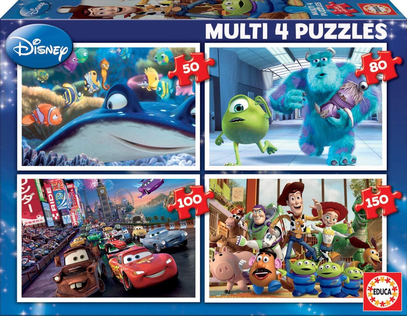 Educa - Multi 4 Puzzles Junior, puzzle infantil Pixar: Buscando a Nemo, Monster Inc, Cars y Toy Story de 50,80,100 y 150 piezas, a partir de 5 años (15615)