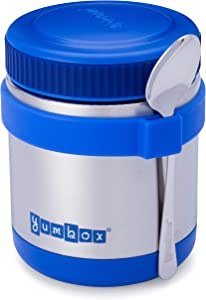Yumbox Zuppa - Wide Mouth Thermal Food Jar 14 oz. (1.75 cups) with a removable utensil band - Triple Insulated Stainless Steel - Stays Hot 6 Hours or Cold for 12 Hours - Leak Proof - in Neptune Blue