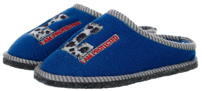 aebd8c18e31267 Brandsseller Kinder Fleece Hauspantolette Hausschuh Schluppen Pantoffeln - mit  Motiv L - I am Protected - in den Farben Anthrazit oder Blau - in den  Größen ...