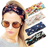Amazon Price History for:4 Pack Women Headband Boho Floal Style Criss Cross Head Wrap Hair Band