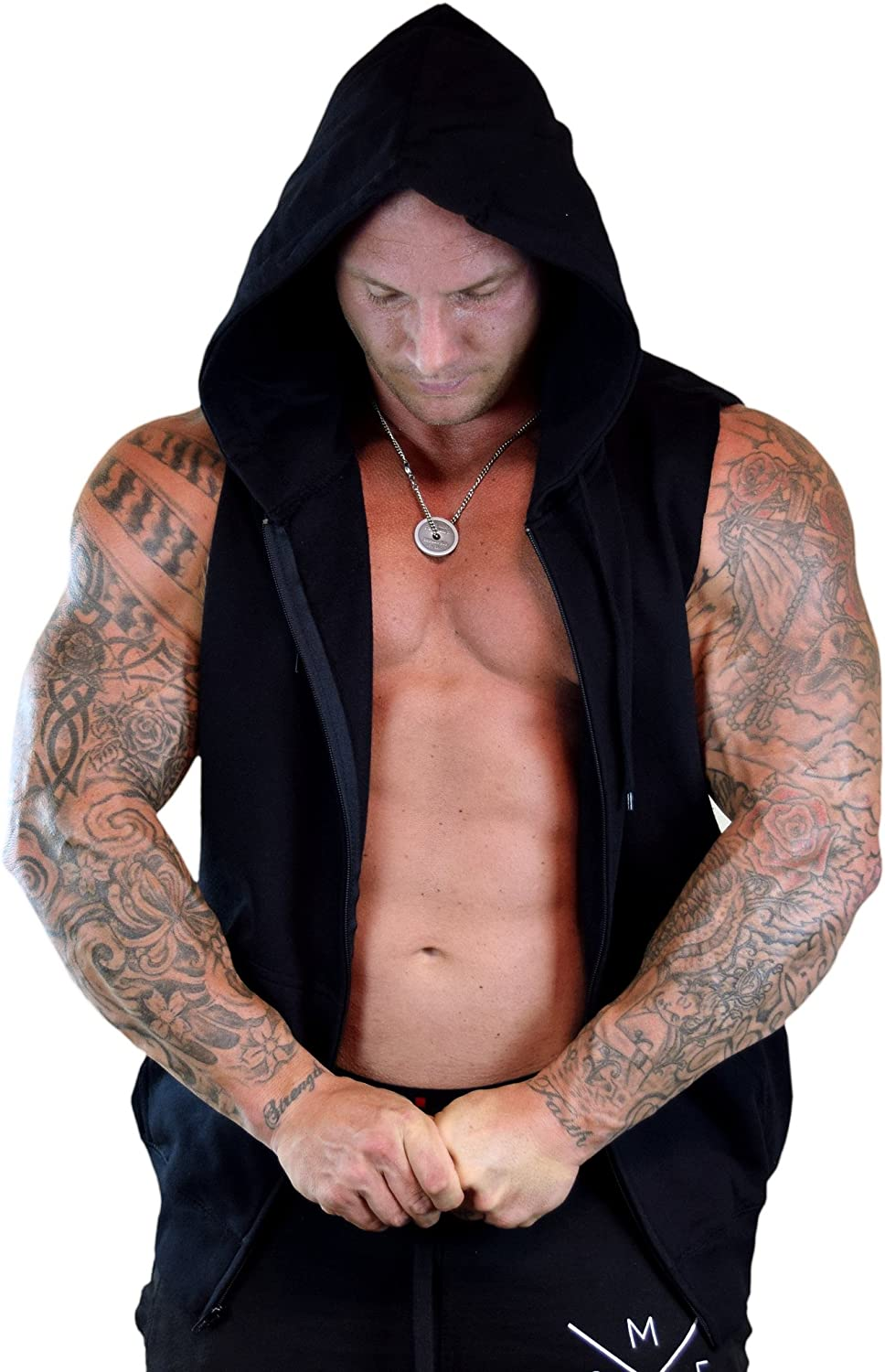 Mens No Days Off V103 Sleeveless Zipper Hoodie