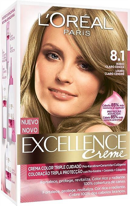 LOréal Paris Coloración Excellence Crème Triple Protección 8.1 Rubio Claro Ceniza - 200 gr