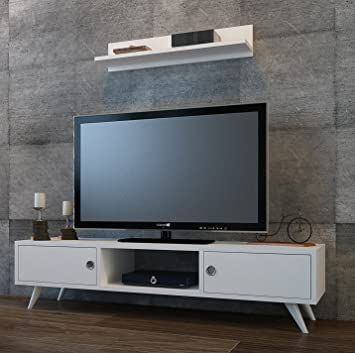 ASPEN Wohnwand - Weiß - TV Lowboard mit Wandregal in modernem Design ...