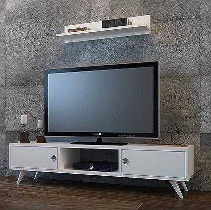 HOMIDEA Aspen Set Soggiorno - Bianco - Parete Attrezzata - Mobile TV Porta  con mensola da Muro Un Design Moderno