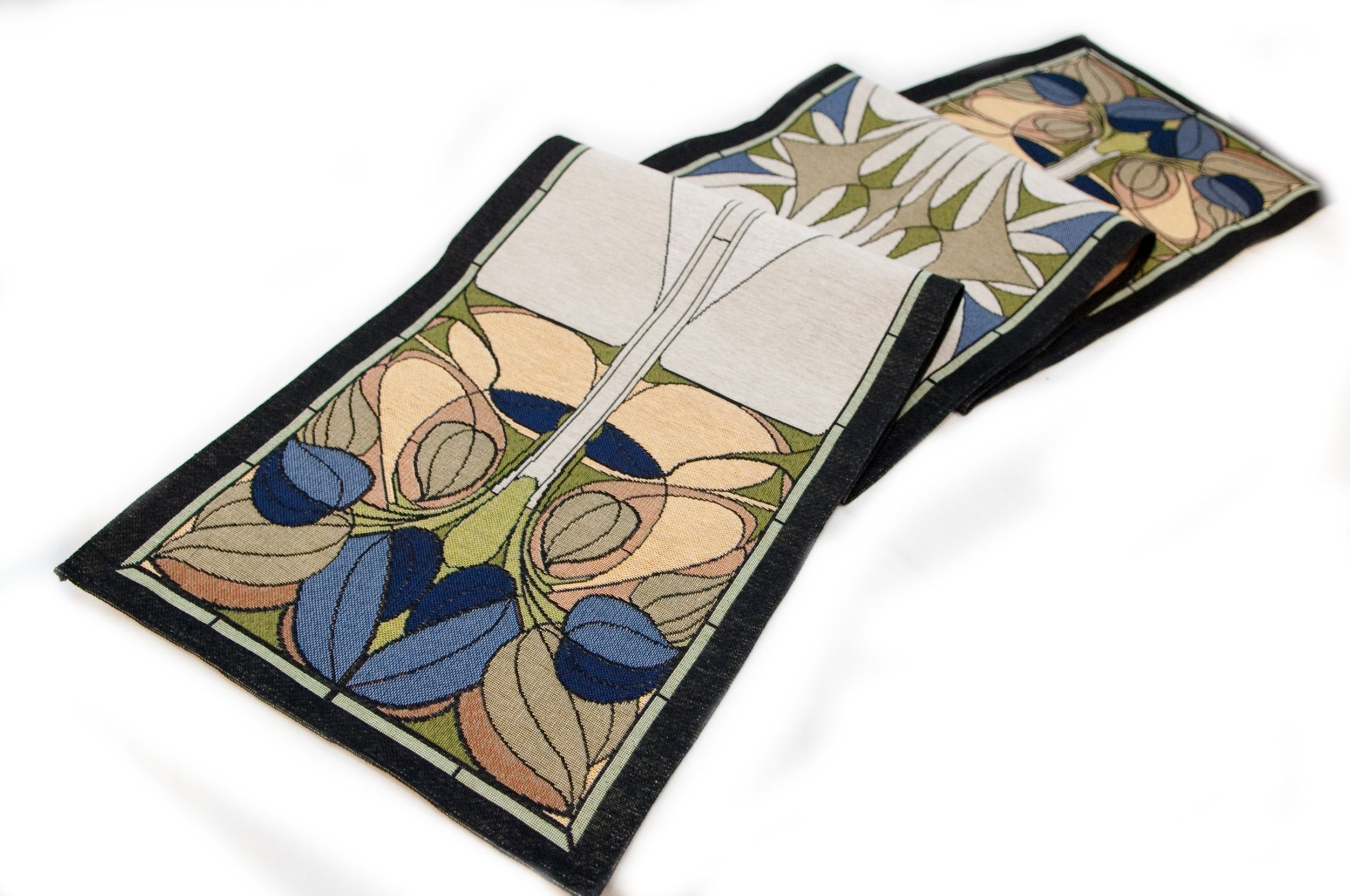 Rennie & Rose Collection 76-Inch Table Runner, Art Nouveau Floral Window