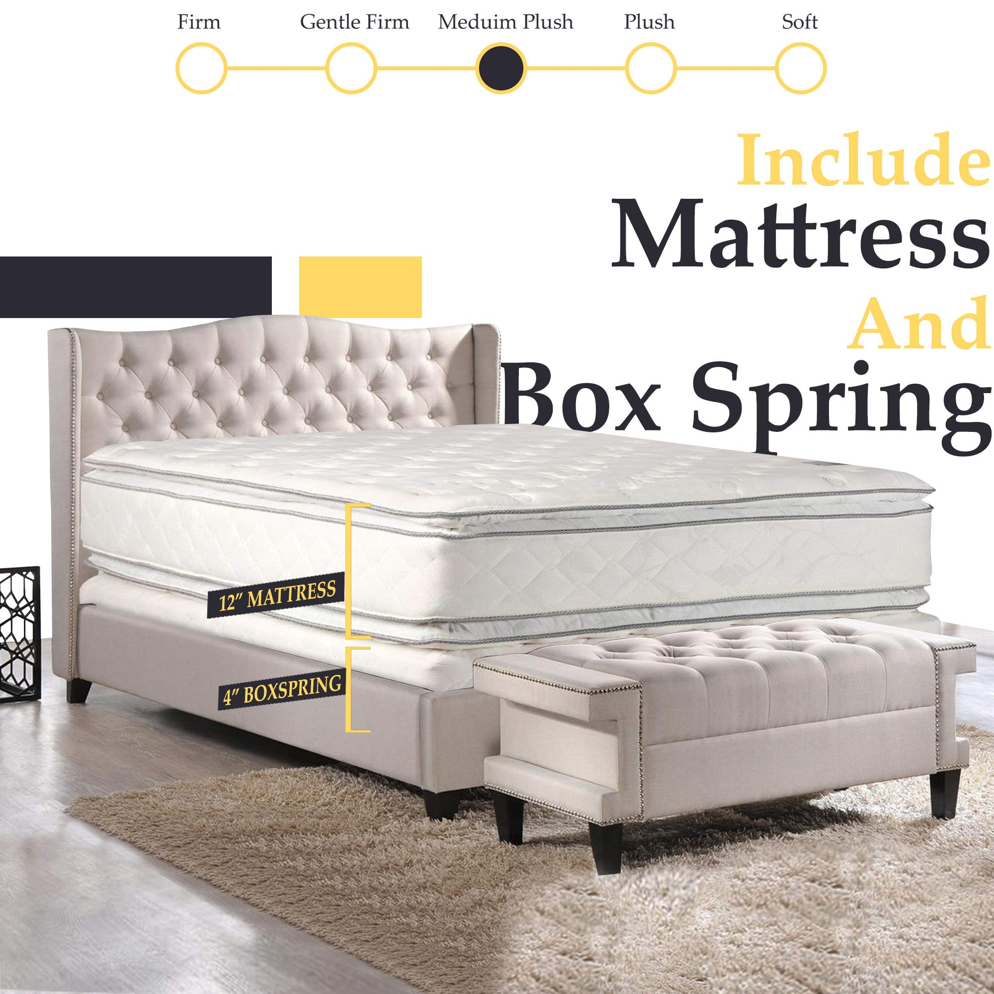 Double sided Pillowtop Innerspring Fully Assembled Mattress And 4-Inch Wood Box Spring/Foundation Set, Good For The Back by Nutan