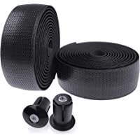 KINGOU Bike Handlebar Tape PU Anti-Skid Bicycle Bar Tapes with Adhesives, End Plugs and Finishing Tapes