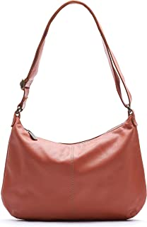 product image for Coral Distressed Italian Leather Crossbody Hobo Bag