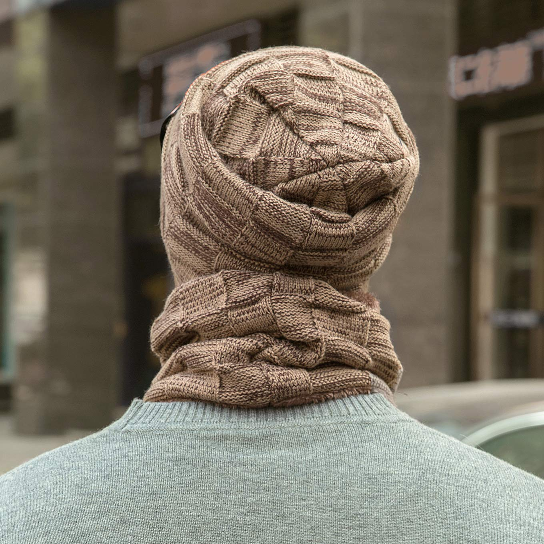 LCZTN Mens Winter Beanie Hat Scarf Set Warm Fleece Lined Knit Ski Hats Slouchy Skull Cap for Unisex Gift