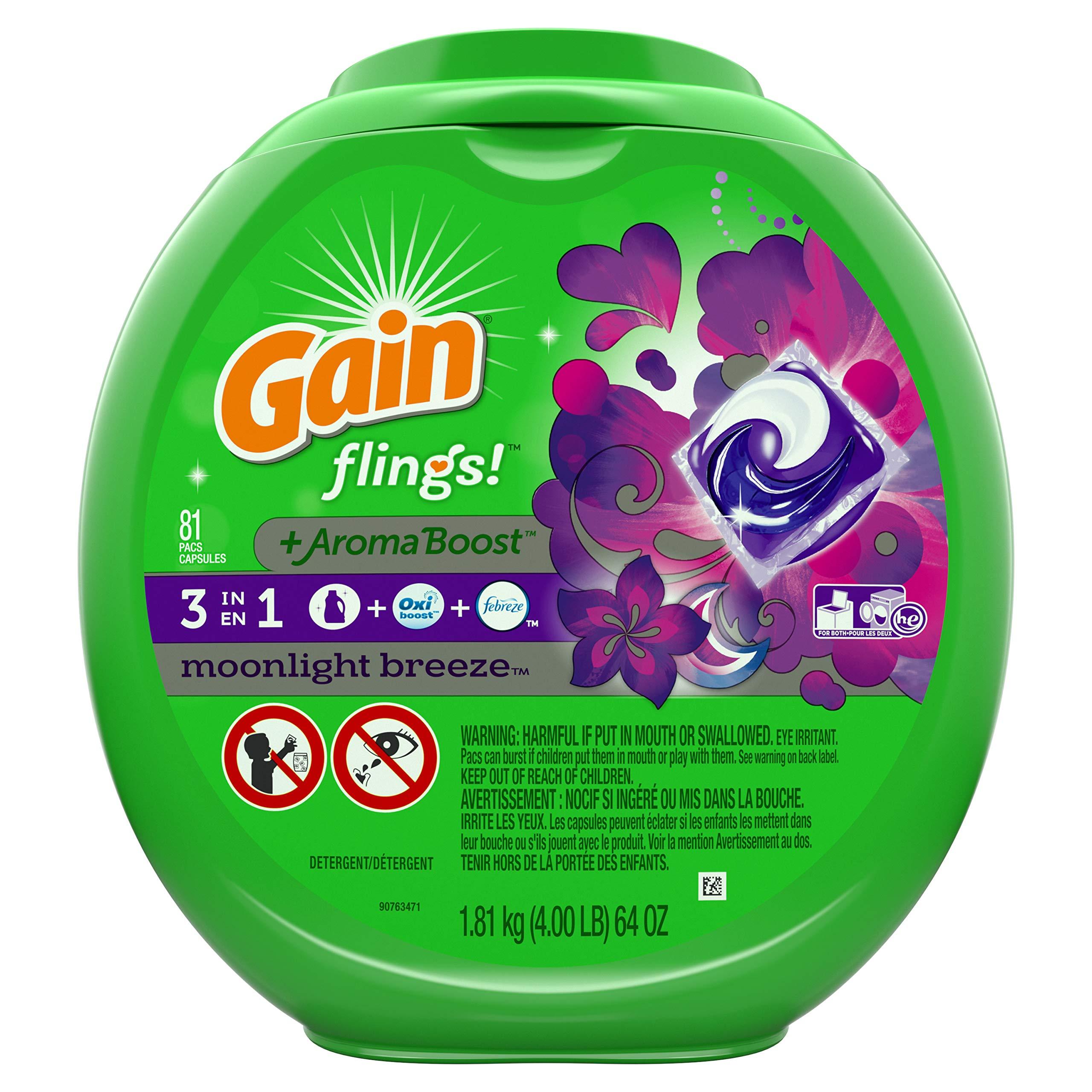 Gain Flings! +AromaBoost Laundry Detergent Pacs, Moonlight Breeze, 81 Count