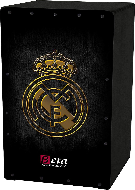 Cajón flamenco Beta mod. Real Madrid negro   Caja musical rumbera de percusión en abedul. Tamaño: 48.5 x 29 x 29 cm: Amazon.es: Instrumentos musicales