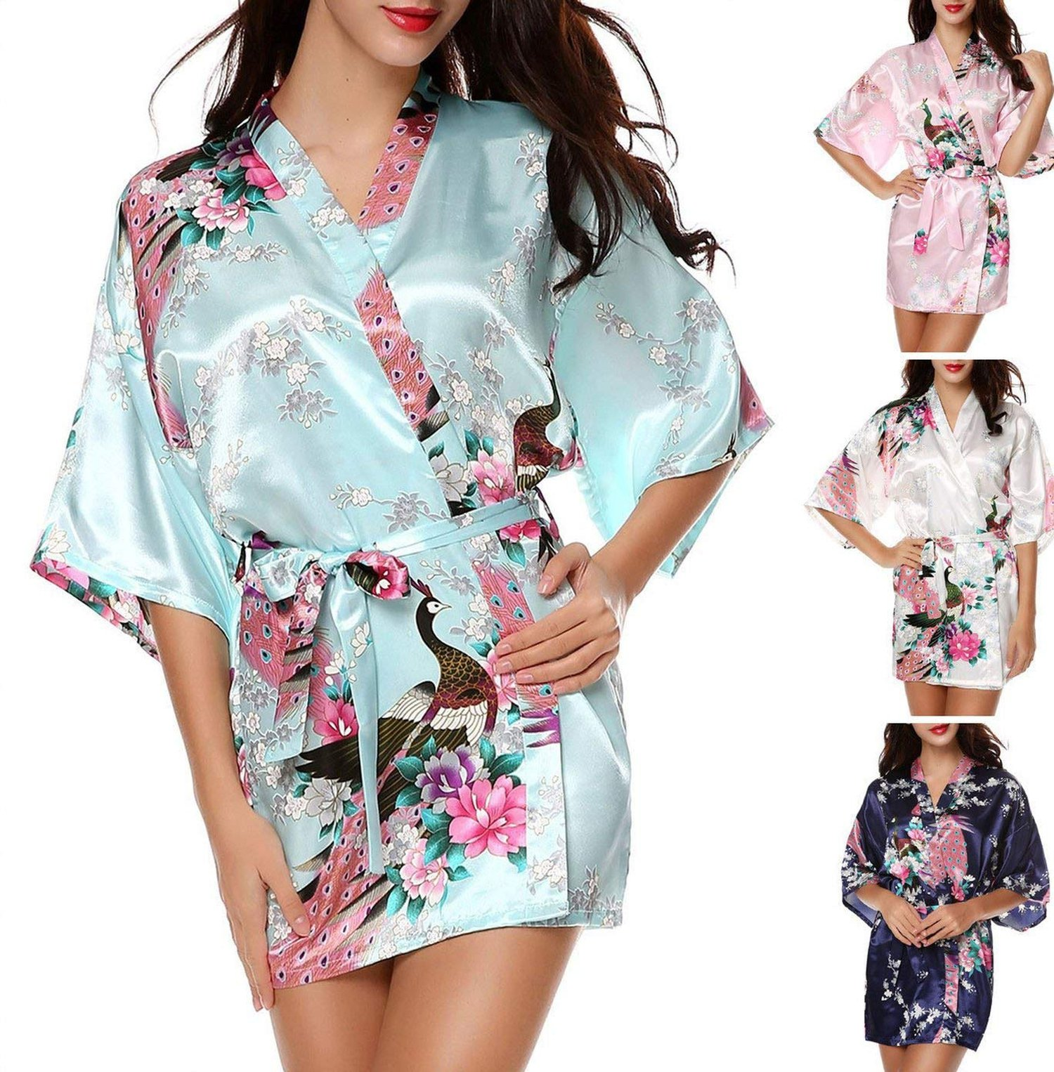 Toping Fine adult-exotic-sleepwear-and-robe-sets Kimono Robe Women's Kimono Robe Peacock Silky Sexy Lace Pattern Silk,Large,White
