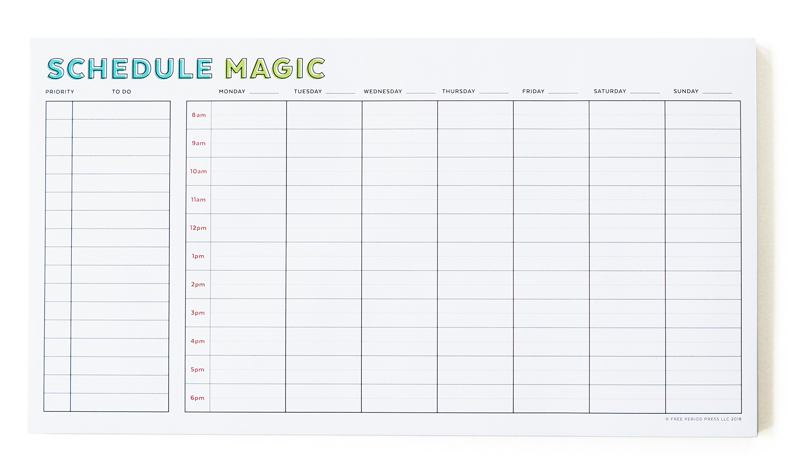 Schedule Magic Weekly to Do List Notepad, 52 Tear-Off Pages, Free Period Press