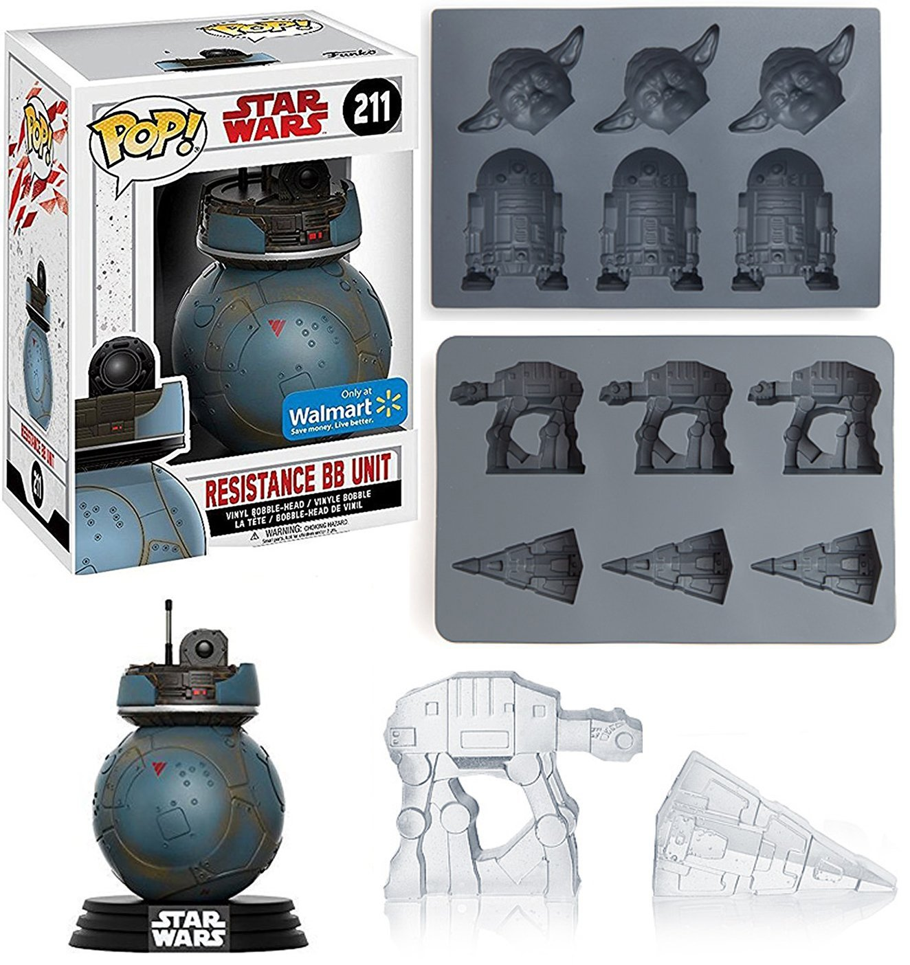 Star Wars Ice Cube Tray 2 Pack Yoda & R2-D2 Droid Character mold/AT-AT/Star Destroyer + BB Unit Figure Exclusive Character Fun Cars
