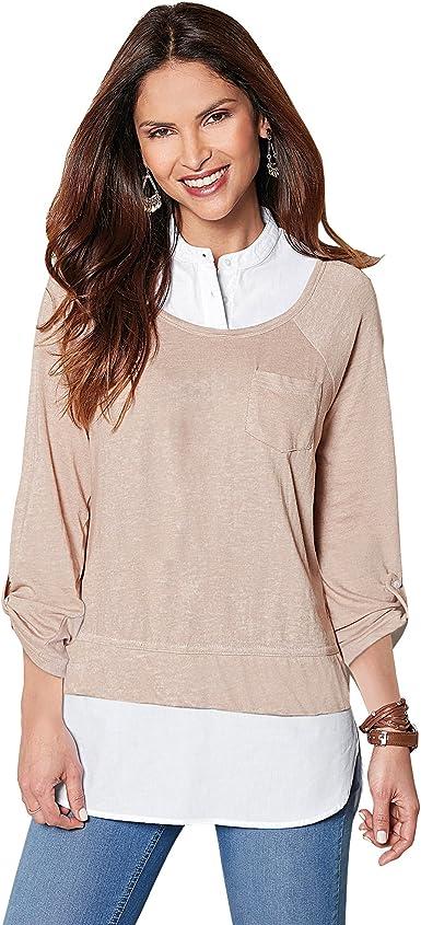 VENCA Camiseta de Efecto Doble con Camisa Interior de Cuello Mao con Botones - 001429, CÁMEL VIGORÉ, XXL: Amazon.es: Ropa y accesorios