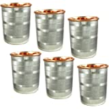 Water Drinking Glasses Set of 6 Copper and Stainless Steel Indian Drinkware, Capacity 350 ML