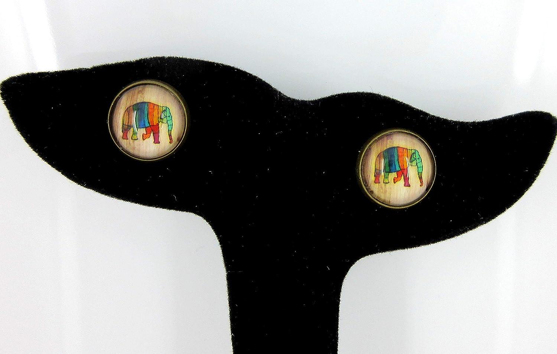 Antiqued Gold-tone Rainbow Elephant Print Glass Stud Earrings 12mm