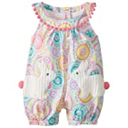 Mud Pie Baby Girls' Bunny Pocket Romper, Multi, 9 12 Months