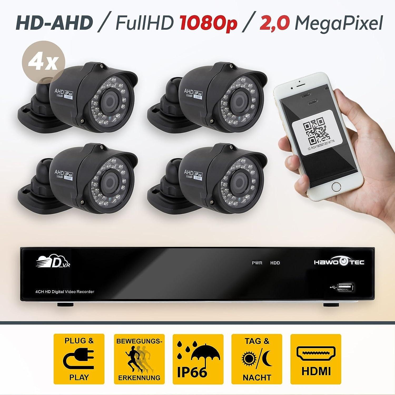 HaWoTEC Full HD AHD P2P Vigilancia de 4 canales con 4 compacta ...