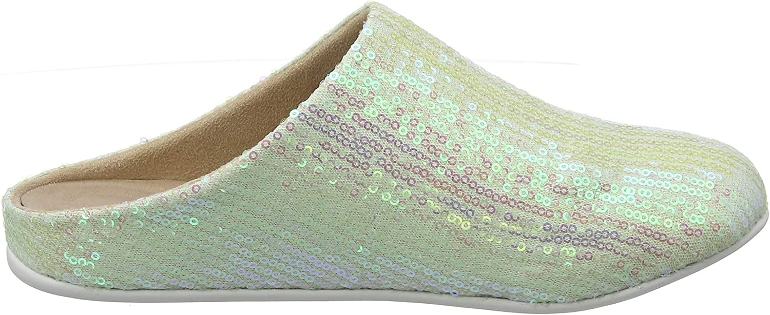 Fitflop Chrissie Sequin, Pantuflas Para Mujer Marfil Iridescent Pearl 761
