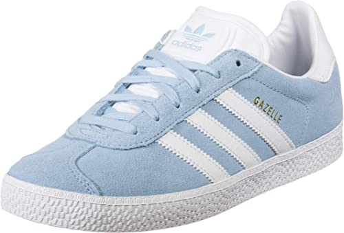adidas Originals Gazelle J BleuDoré (Clear SkyGold Metallic) Daim Junior Formateurs Chaussures