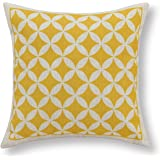 "Euphoria Home Decorative Cushion Covers Pillows Shell Cotton Linen Blend Yellow Circles Rings Chain Geometric Figures 18"" X 18"""