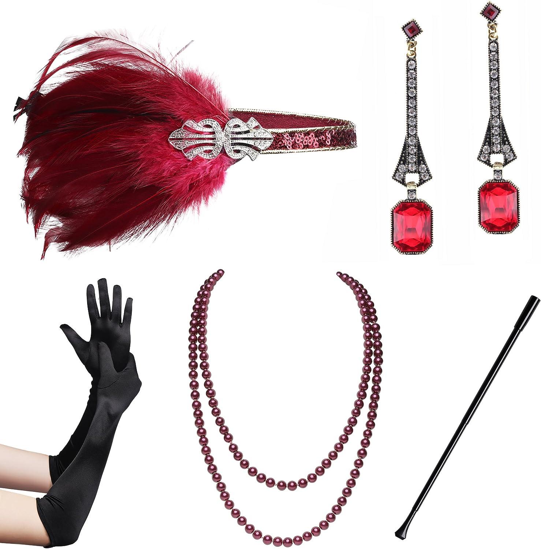 ArtiDeco 1920s Flapper Accesorios de los Años 20 Accessorios de Charlestón para Mujer Disfraz Gran Gatsby(Diadema, Collar de Perlas, Pendientes, Boquilla y Guantes)
