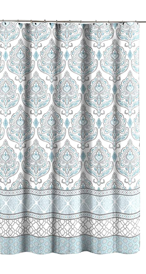 CHD Home Teal Grey White Canvas Fabric Shower Curtain Floral Damask With Geometric Border Design