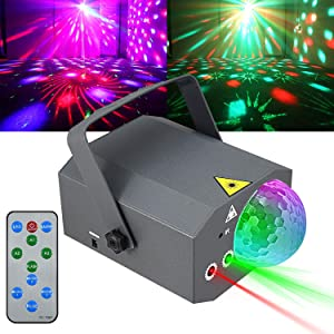 Party Lights Disco Ball Strobe Lights, Kuniwa Projector Stage Light LED Dj Light Sound Activated with Remote Control for Room Home Club Bar Music Holiday Dance Christmas Show Birthday Wedding