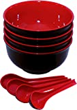 Set of 4 Large Melamine Soup Noodle Cereal Bowls and Spoons - Red and Black 40 Ounce