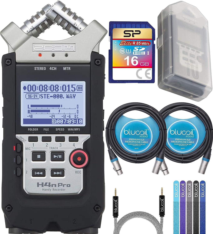 Zoom H4N PRO Handy Recorder Bundle con Silicon Power 16GB Clase 10 SDHC tarjeta SD, Blucoil 2-Pack de 10-FT Equilibrado XLR Cables, 5-FT Audio Aux Cable, y 5-Pack de bridas de cable