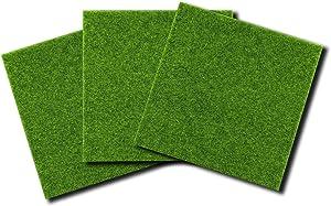 EDOBLUE Artificial Garden Grass, Life-Like Fairy Artificial Grass Lawn 12 x 12 Inches Ornament Garden Dollhouse DIY Grass (3 Packs)