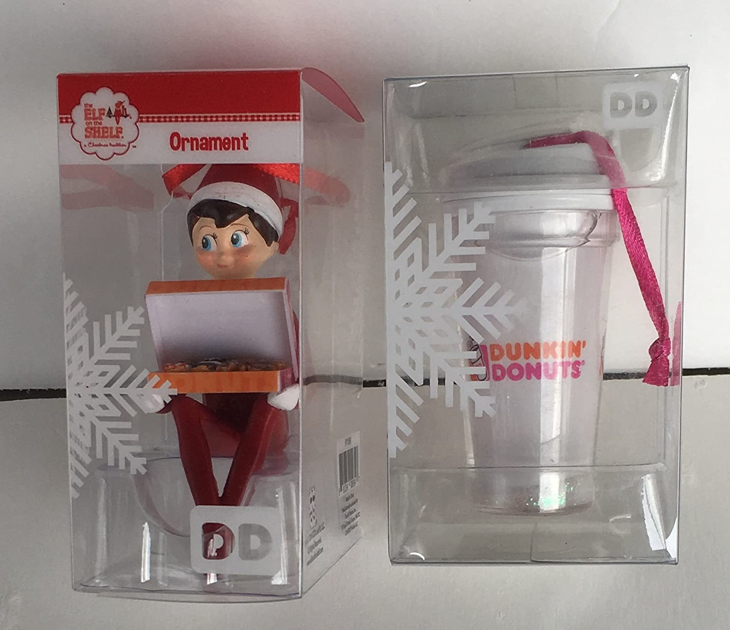 Amazon: Dunkin Donuts Elf On The Shelf And Snow Globe Cup Christmas  Ornaments 2016: Home & Kitchen