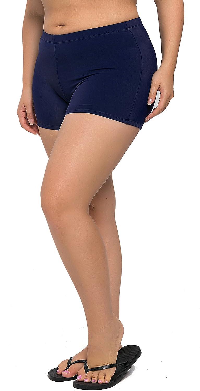 Vegatos Womens Plus Size Swim Bottoms Boyleg Swimming Shorts Beach Board Shorts