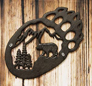 """Ebros Gift 11.5"""" Wide Western Black Bear Paw with Pine Tree Forest and Mountain Design Cast Iron Metal Wall Decor Plaque Southwest Rustic Country Bears Vintage Decorative Accent for Walls Or Tables"""