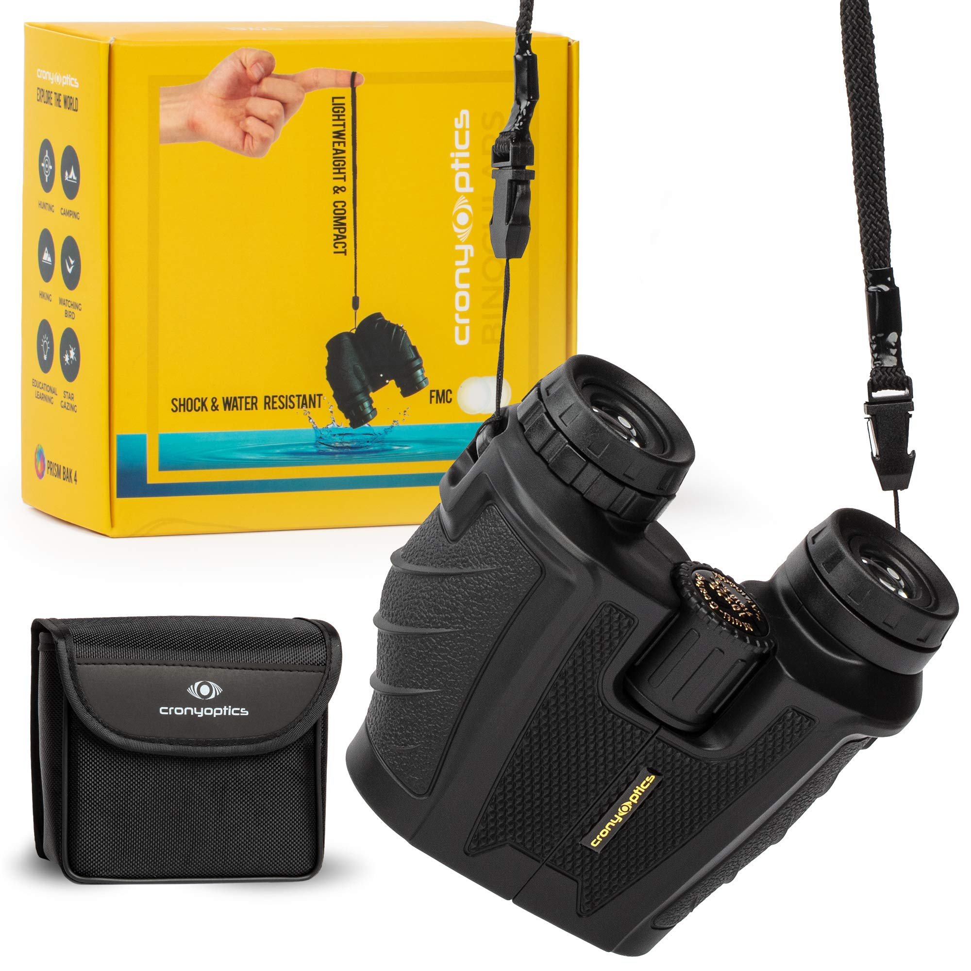 Lightweight and Compact Binoculars for Adults 10x25 - High Powered Bino Best for Bird Watching, Travel and Stargazing - Small and Water-Resistant by Cronyoptics