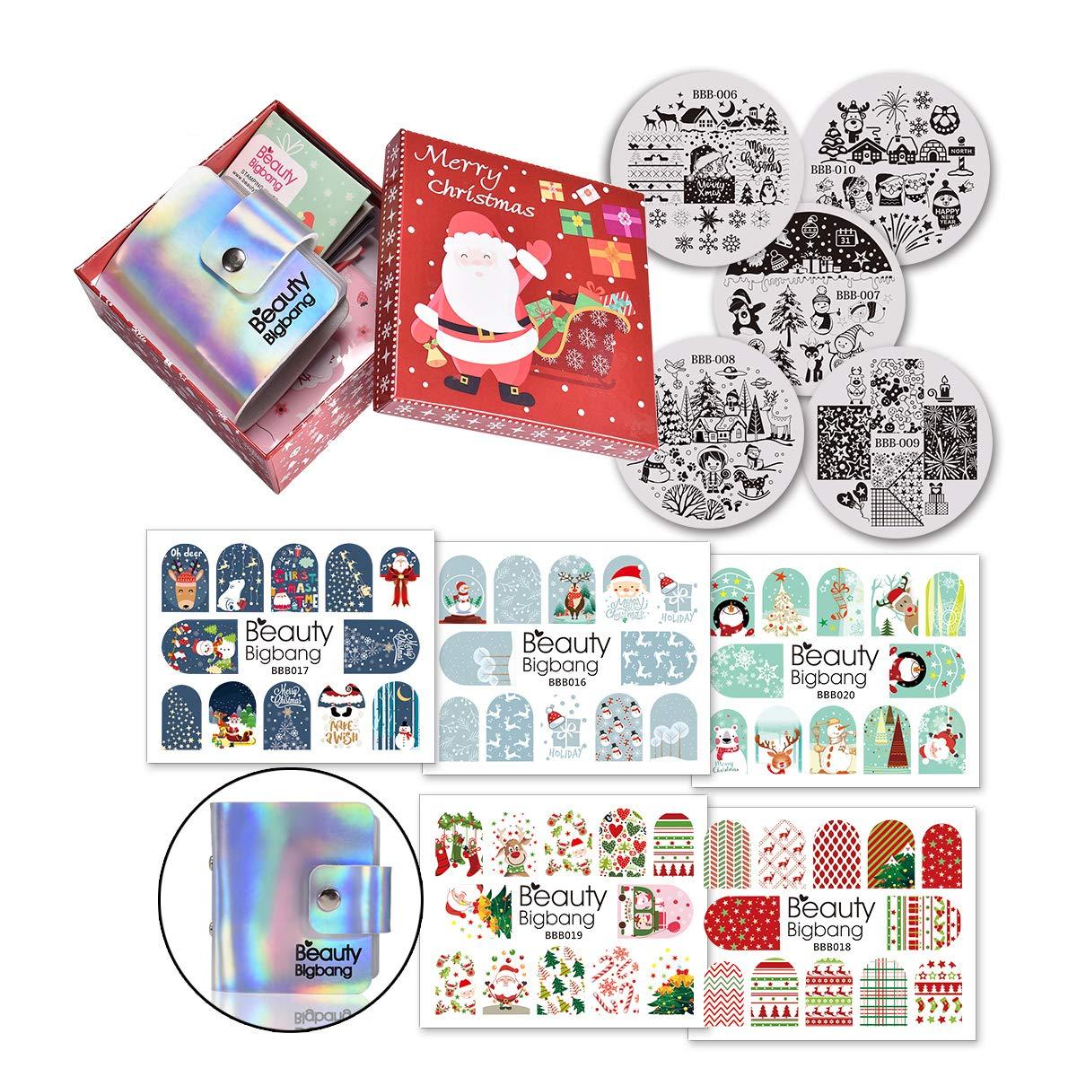 BEAUTYBIGBANG 5PCS Christmas Nail Stamping Plate Image Template + 5PCS Nail Sticker + Holo Holder Organizer Nail Design Manicure Santa Claus Snowman