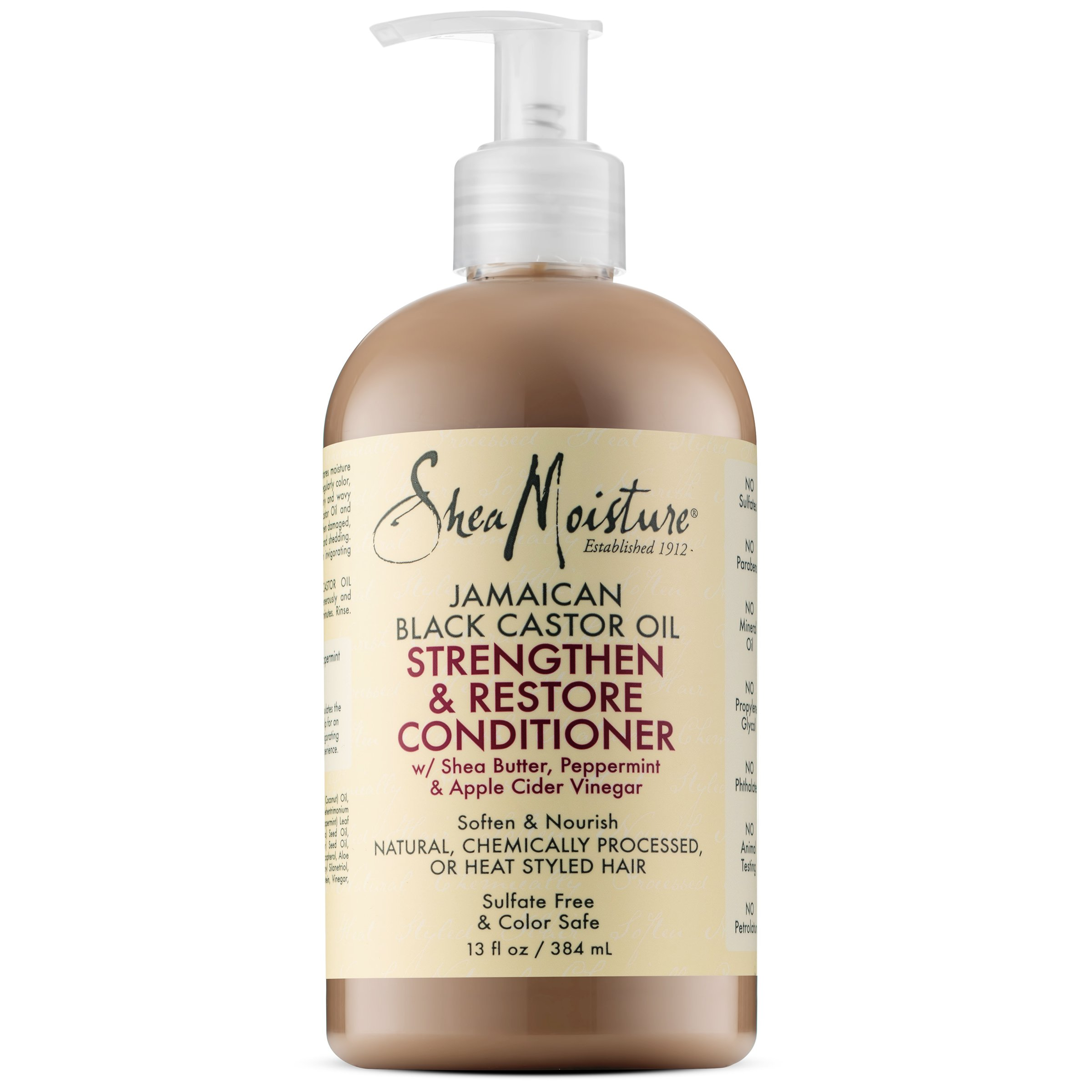 Shea Moisture Jamaican Black Castor Oil 13 oz. Strengthen, Grow & Restore Conditioner with Shea Butter, Peppermint and Keratin - Sulfate Free and Color Safe - Value Pack of 2 Each