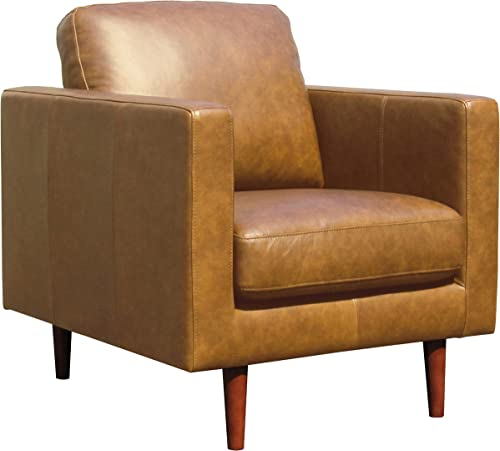 Amazon Brand Rivet Revolve Modern Leather Armchair