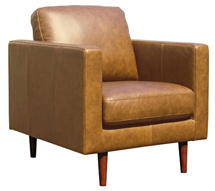 Cool Rivet Revolve Modern Leather Armchair With Tapered Legs 32 7W Caramel Machost Co Dining Chair Design Ideas Machostcouk