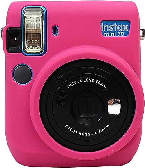 Gel de silicona de protección de goma suave bolsa de la cámara para el bolso de Fujifilm Fuji Instax Mini 70 Cámara Magenta: Amazon.es: Electrónica