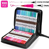 100 Colors Art Markers Set, Ohuhu Dual Tips Coloring Brush Fineliner Color Pens, Water Based Marker for Calligraphy Drawing Sketching Coloring Book Bullet Journal Art Project, Back to School Supplies