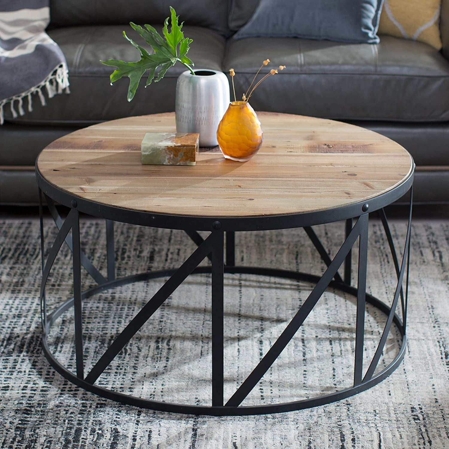 Amazon.com: Belham Living Allen Reclaimed Wood Drum Coffee Table: Kitchen U0026  Dining