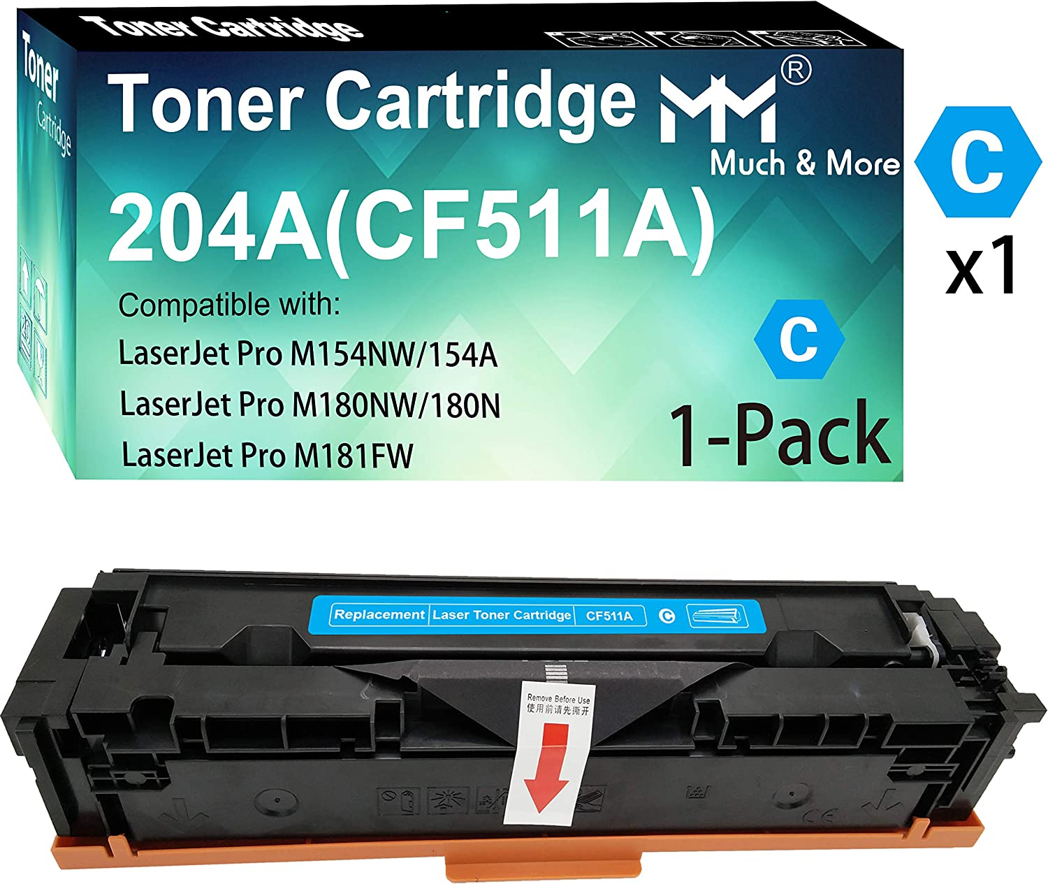 (1-Pack, Cyan) Compatible 511A CF511A Toner Cartridge 204A Used for HP Laserjet Pro MFP M180nw M180n M181fw M181 M154nw M154a Printer, by MuchMore