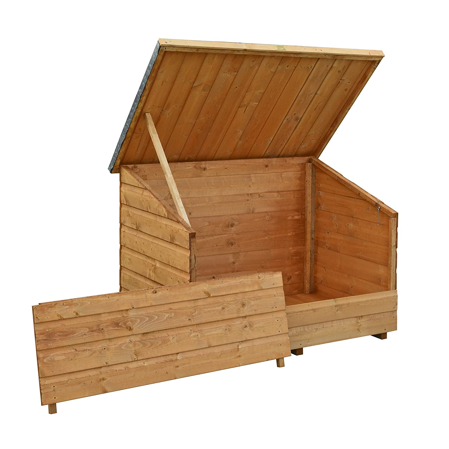 Bosmere GC1T Rowlinson Wooden Garden Chest with Lifting Lid, Honey-Brown Finish A047