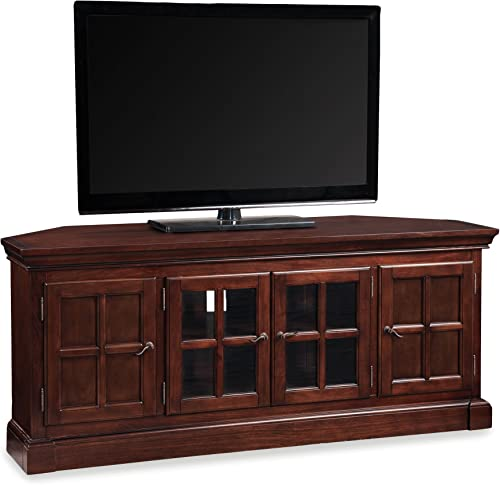 Leick Bella Maison 56 Corner TV Stand with Lever Handles, Chocolate Cherry