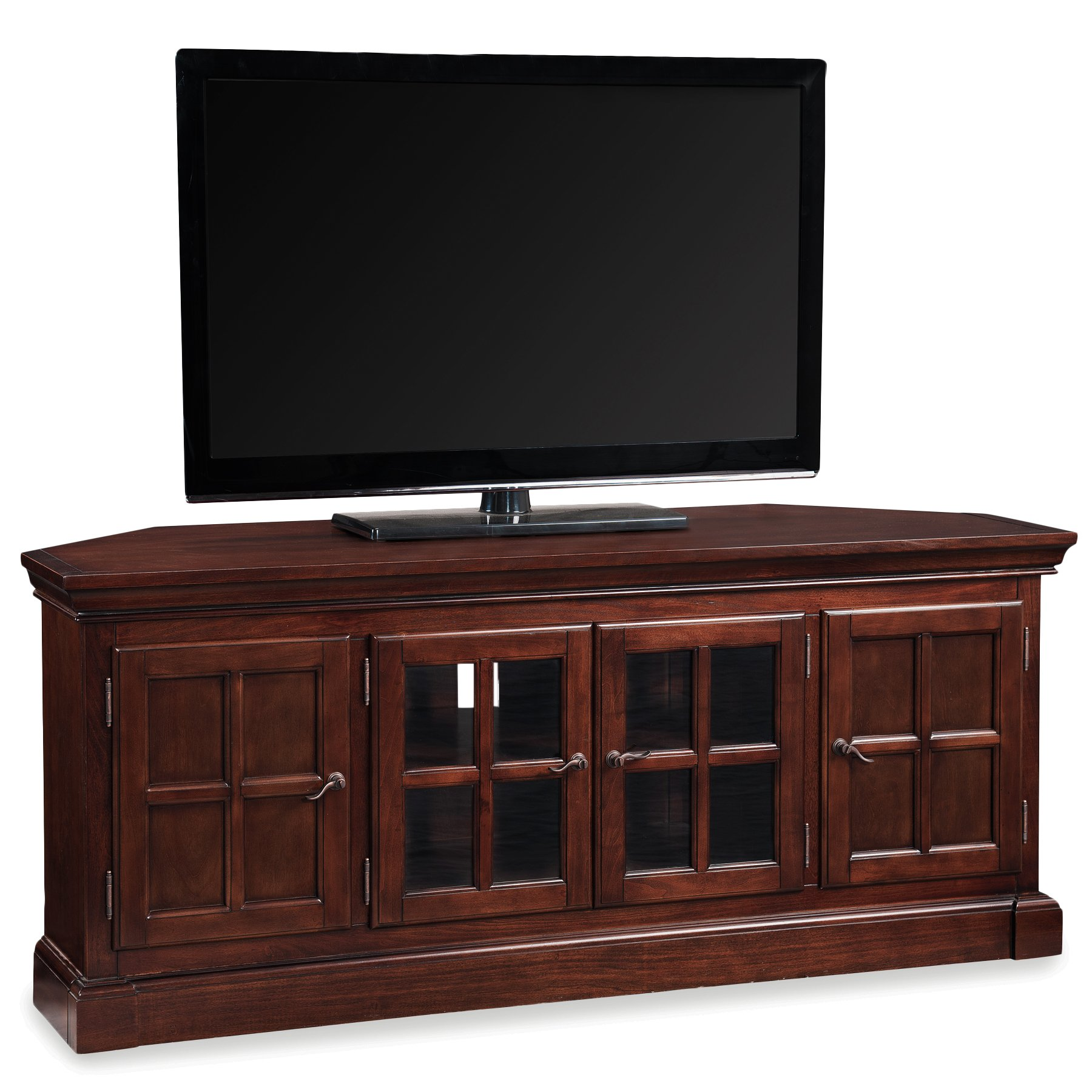 Leick 81586 Bella Maison 56'' Corner TV Stand with Lever Handles, Chocolate Cherry